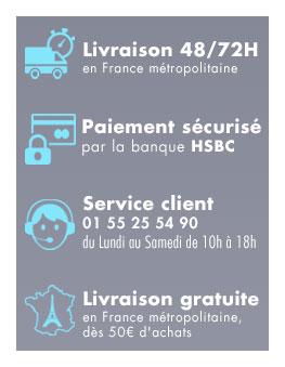 Livraison 48/72H, Service client, Paiement sécurisé, Livraison gratuite en France,dès 50€ d'achats