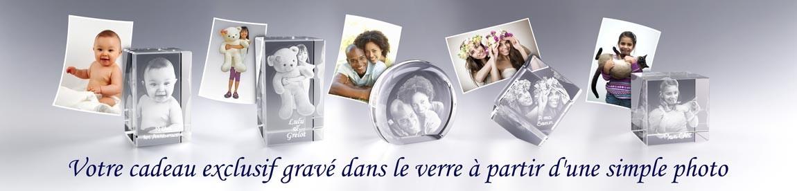 Cadeau Photo Verre 3D, votre cadeau exclusif gravé dans le verre à partir d'une simple photo