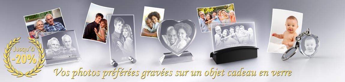 Cadeau Photo Verre 2D, vos photos préférées gravées sur un objet cadeau en verre